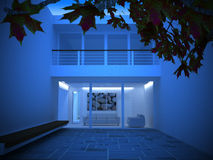 Een modern huis bij nacht Royalty-vrije Stock Foto's