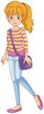 Een modieus meisje met een purpere slingbag Stock Fotografie