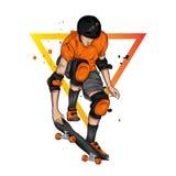 Een modieuze schaatser met glazen, een vest en broeken straat sporten Vectorillustratie voor een prentbriefkaar of een affiche, d royalty-vrije stock foto's