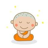 Een monnik die gesloten ogen mediteren Royalty-vrije Stock Foto