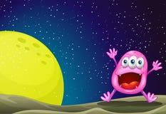 Een monster dichtbij de maan Royalty-vrije Stock Afbeelding