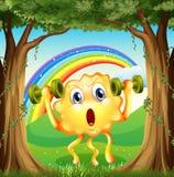 Een monster die bij bos met regenboog in hemel uitoefenen Royalty-vrije Stock Afbeeldingen