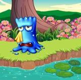 Een monster die bij riverbank schreeuwen vector illustratie