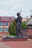 Een monument aan een militair in Myshkin, Rusland Royalty-vrije Stock Afbeeldingen