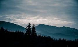 Een mooi, abstract zwart-wit berglandschap in blauwe tonaliteit Stock Afbeeldingen