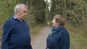 Een mooi bejaard paar, die in het park lopen, die vriendelijk spreken Goede stemming, het positieve leven Langzame Motie stock video