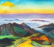 Een mooi berglandschap met bergketens en wolken royalty-vrije illustratie
