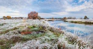 Een mooi de herfstlandschap met berijpt gras, een eenzame roodharigeeik, een rivier en een mooie bewolkte hemel Royalty-vrije Stock Afbeeldingen
