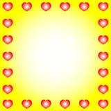 Een mooi eenvoudig geel ontwerp als achtergrond met vele witte harten Stock Fotografie