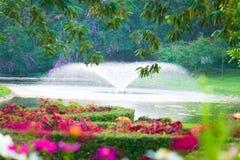 Een mooi, expansief, bloementuinpark, met een actieve vijverfontein die op de achtergrond wordt geplaatst stock afbeelding