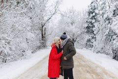 Een mooi familiepaar die op een sneeuwweg in het hout lopen royalty-vrije stock afbeeldingen