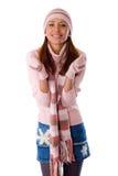 Een mooi jong meisje in gebreide kleren Stock Afbeeldingen