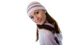 Een mooi jong meisje in gebreide kleren Stock Foto