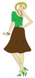 Een mooi jong meisje in heldere kleren Royalty-vrije Stock Afbeelding