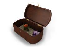 Een mooi juwelen houten vakje met een brief, nam en hart-vormige diamant binnen toe van het Royalty-vrije Stock Afbeelding