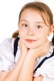 Een mooi meisje dat haar hals houdt Royalty-vrije Stock Afbeeldingen