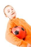 Een mooi meisje een sinaasappel Royalty-vrije Stock Afbeeldingen