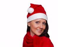 Een mooi meisje kleedde zich als Kerstman Royalty-vrije Stock Afbeelding
