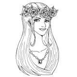 Een mooi meisje met een bloemkroon op haar hoofd en een halsband royalty-vrije illustratie