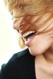 Een mooi meisje, met fantastische lippen, het glimlachen Stock Fotografie