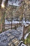 Een mooi stadspark in de winter Stock Foto