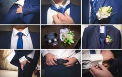 Een mooie bruid in een blauw kostuum Stock Foto's
