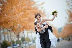 Een mooie bruid en een bruidegom Stock Foto's