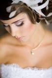 Een mooie bruid in huwelijkskleding. Royalty-vrije Stock Fotografie
