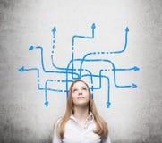 Een mooie dame denkt over mogelijke oplossingen van het ingewikkelde probleem na Vele blauwe pijlen met verschillende richting Royalty-vrije Stock Afbeeldingen