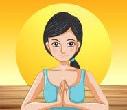 Een mooie dame die yoga doen vector illustratie