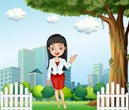 Een mooie dame die zich dichtbij de boom over de gebouwen bevinden vector illustratie