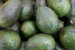 Een mooie donkergroene die avocado in de markt wordt gevonden stock foto