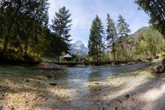 Een mooie duidelijke rivier in Oostenrijk stock foto