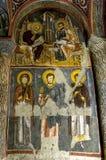 Een mooie fresko binnen Karanlik Kiise (Donkere Kerk) bij het Openluchtmuseum in Goreme in Cappadocia in Turkije Royalty-vrije Stock Fotografie