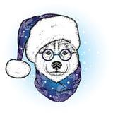 Een mooie hond in Kerstman` s hoed en sjaal antler Vector illustratie Rasecht puppy in kleren en toebehoren Schor of wolf N royalty-vrije illustratie