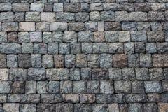 Een mooie horizontale textuur van een deel van een oude grijze bakstenen muur van bevroren vulkanische lava van de vulkaan van Et royalty-vrije stock afbeeldingen
