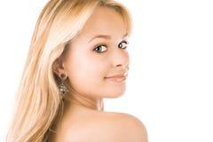 Een mooie jonge blonde vrouw Stock Fotografie