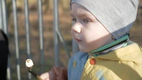 Een mooie jongen eet buiten een worst Gekookt op brandbbq stock videobeelden