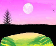 Een mooie maanlichttijd Stock Foto