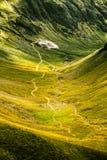 Een mooie mening over een kleine kronkelige weg in Karpatische bergen Royalty-vrije Stock Foto