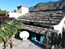 Een Mooie mening van dorpshuis in India stock afbeeldingen