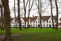 Een mooie mening van het park en de mooie witte huizen royalty-vrije stock afbeelding