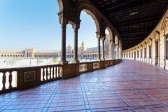 Een mooie mening van Spaans Vierkant, Plaza DE Espana, in Sevilla stock foto's