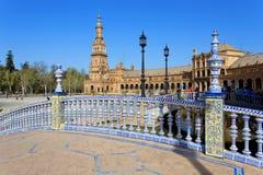 Een mooie mening van Spaans Vierkant, Plaza DE Espana, in Sevilla royalty-vrije stock afbeelding