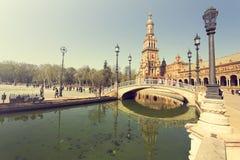 Een mooie mening van Spaans Vierkant, Plaza DE Espana, in Sevilla stock foto