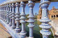 Een mooie mening van Spaans Vierkant, Plaza DE Espana, in Sevilla royalty-vrije stock afbeeldingen