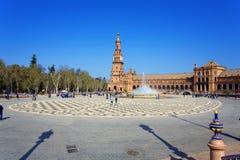 Een mooie mening van Spaans Vierkant, Plaza DE Espana, in Sevilla royalty-vrije stock foto