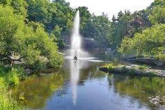 Een mooie mening van een transparante fontein van afstraffing in een vijver in het midden van mooie aard op een hete de zomerdag stock foto