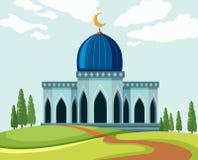 Een mooie moskee in aard vector illustratie