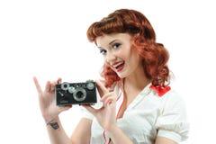 Een mooie speld op meisje Stock Foto